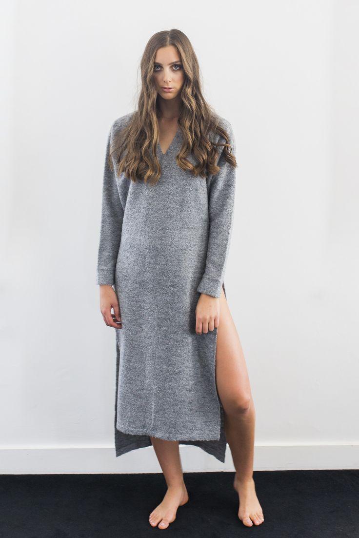 Hunter Rose - Pixie V Neck Side Split Dress