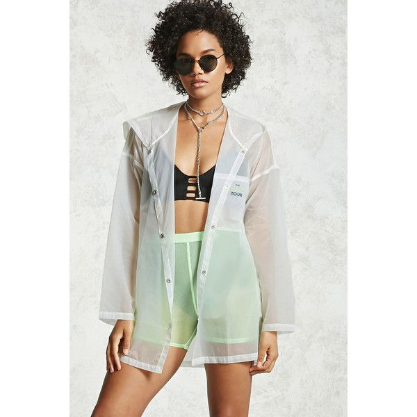 Forever21 Transparent Nylon Jacket ($16) ❤ liked on Polyvore featuring outerwear, jackets, white, white nylon jacket, transparent jacket, nylon snap jacket, lightweight jackets and forever 21 jackets