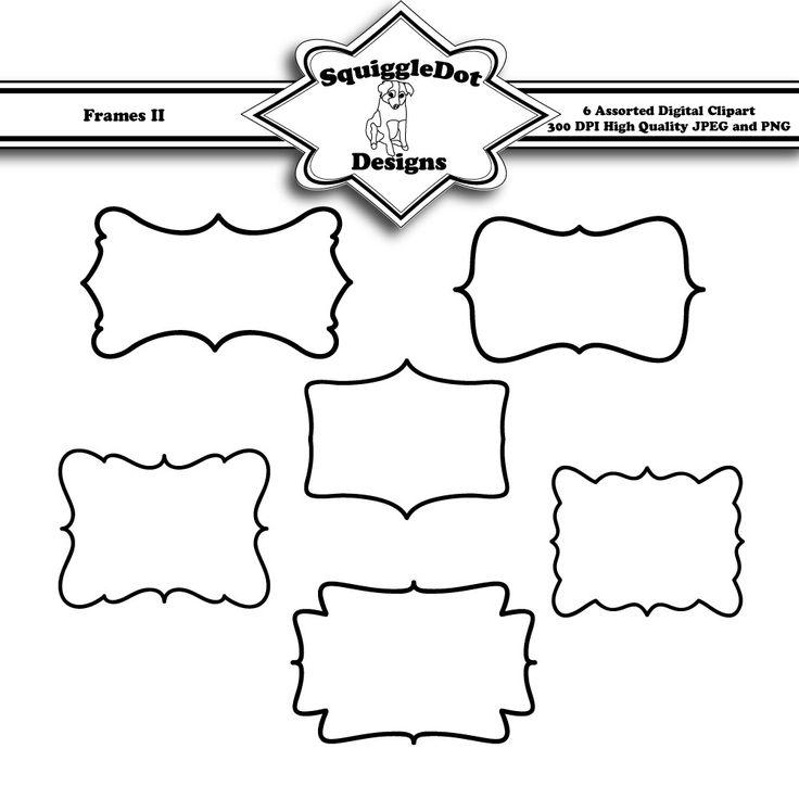 Printable Frame Clip Art For Digital Scrapbooking Embellishments Cards And Crafts Set Of 6