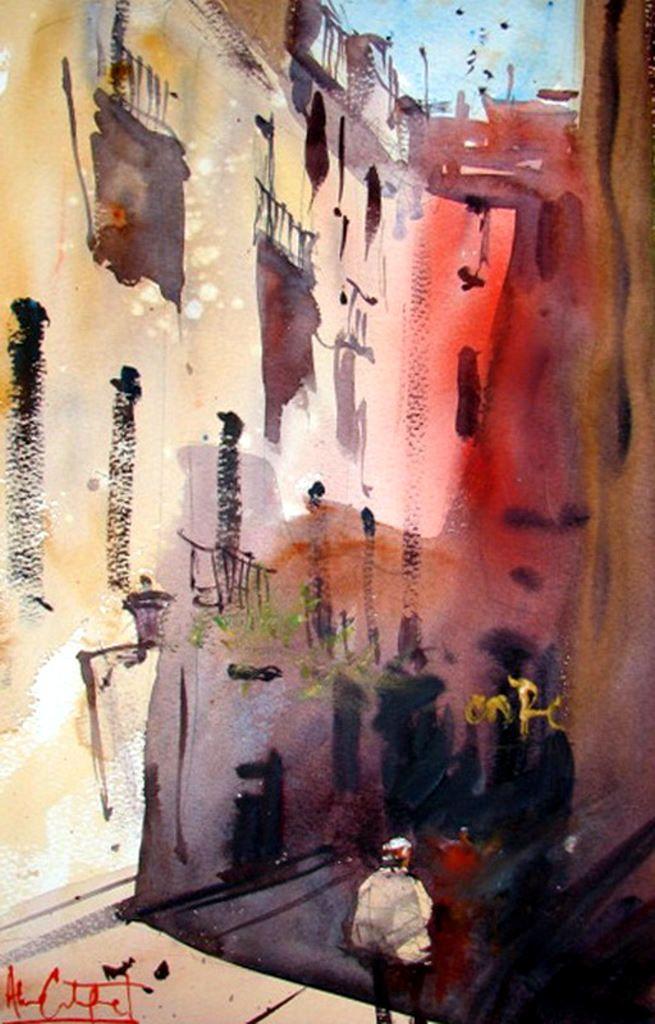 Alvaro #Castagnet - #ericmauban - Travel Journal - Watercolour - Art - Street - Architecture. A great Watercolorist, from Spain