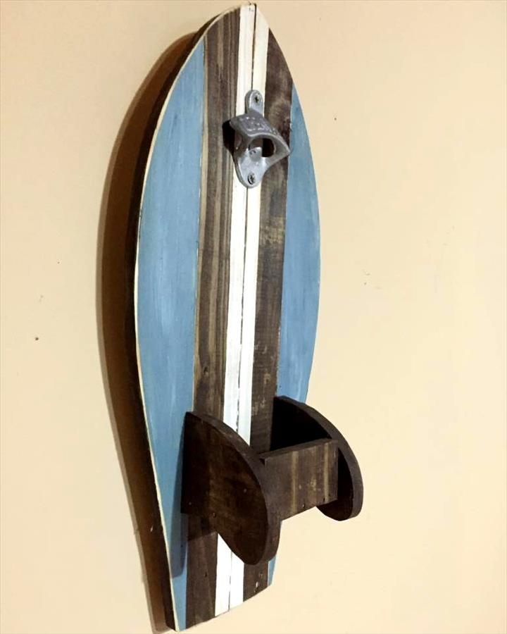 diy pallet surfboard bottle opener                                                                                                                                                                                 More