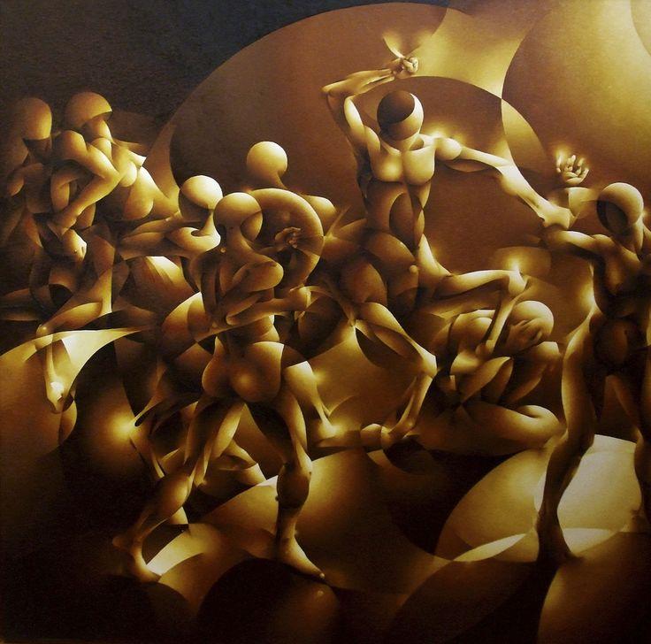 La pintura de Eli Salvans despliega un virtuosismo rítmico que dota a las escenas de una cadencia interna, de un movimiento órfico que se embebe de los lenguajes vanguardistas de los albores del siglo XX pero redirigiéndolos hacia una búsqueda personal.