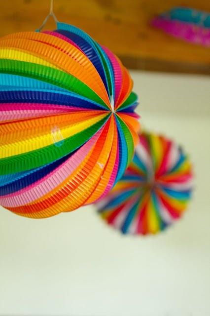 rainbow, paper decorations, party decorations