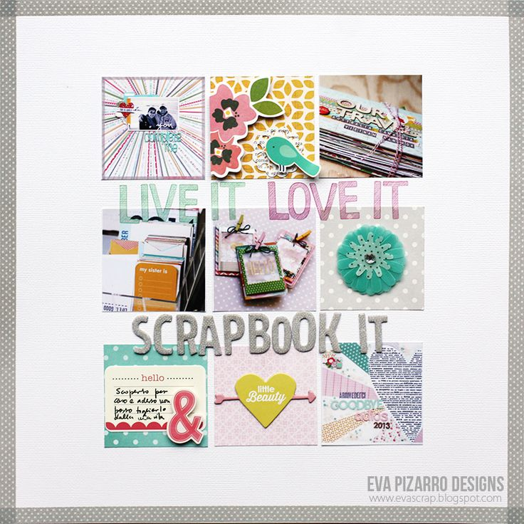 #papercraft #scrapbook #layout.  scrap  co: Pebbles Layout by Eva Pizarro.