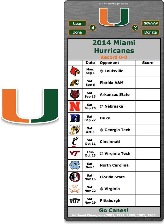 Free 2014 Miami Hurricanes Football Schedule Widget for Mac OS X - Go Canes! - National Champions 2001, 1991, 1989, 1987, 1983 http://riowww.com/teamPages/Miami_Hurricanes.htm