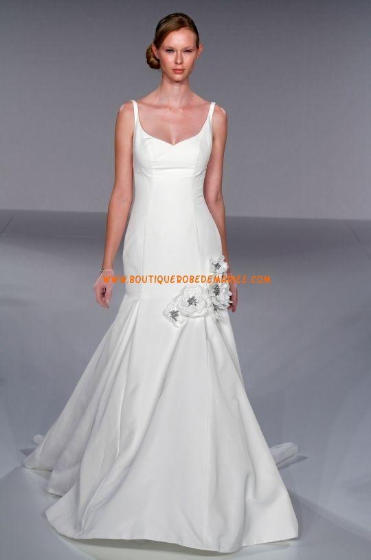 Robe de mariée sirène en satin applique de fleurs perles