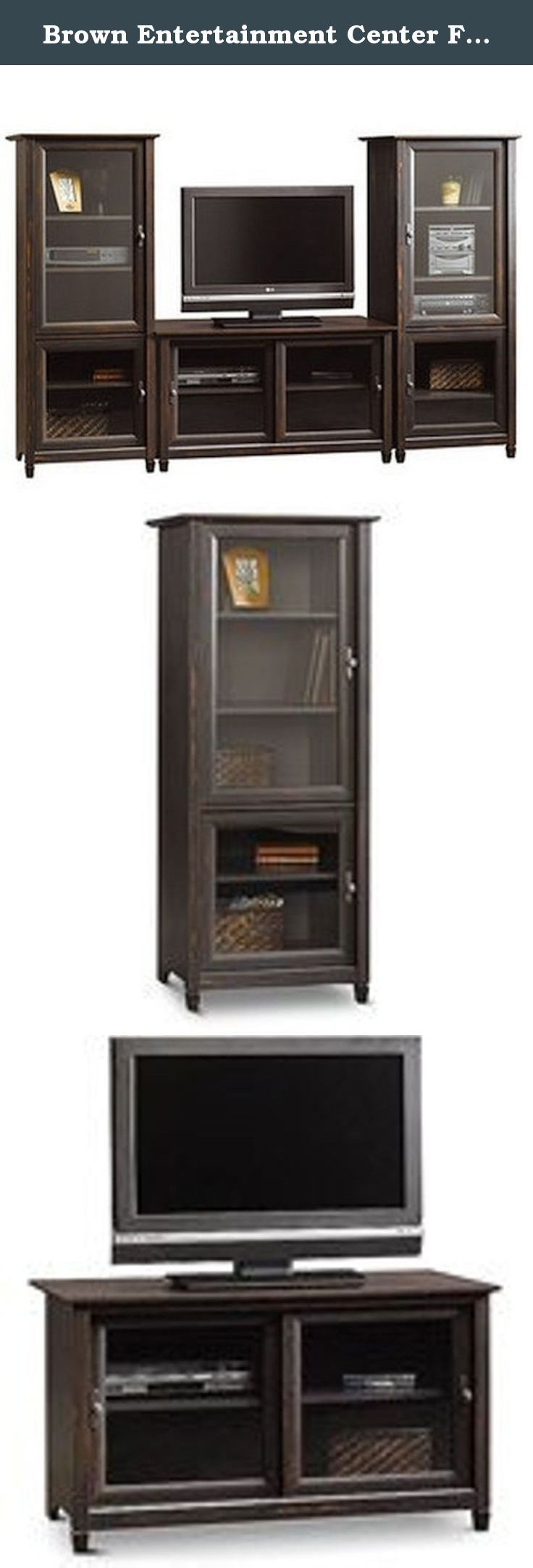 Brown Entertainment Center Flat Screen Tv Stand Matching Media Towers Storage Cabinets Vintage Antique Finish Shelves for Tv Components Glass Doors Completes the Media Center. Bundle and save. Get more and spend less when you buy the Sauder Vinegate TV Stand and 2 audio storage towers together.