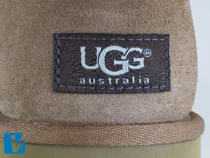 UGG boots feature an UGG label on the heel. The letters on the logo slightly overlap each other with no gaps. The registered trademark circled R is close to the open face of G, 'australia' is printed in lower case below UGG, and the background of the label features faint starbursts. Also check the size, position and stitching of the label carefully.