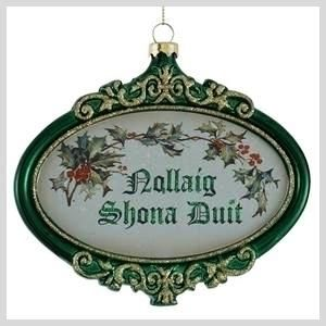 "The greeting for ""Merry Christmas"" in Irish is Nollaig Shona Duit,  Irish pronunciation NO-Lihg HO-nuh ghwich."