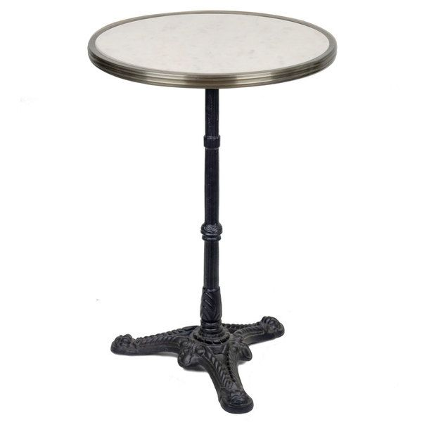 20″ Solid Marble Top Bistro Table with Cast Iron Base