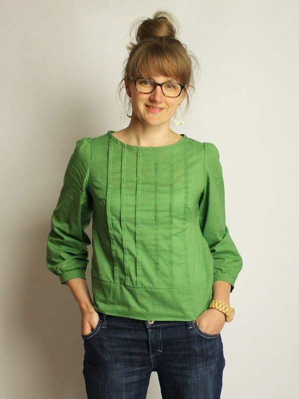green lawn pleated top // made by rae