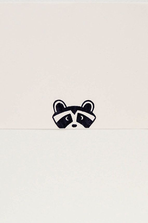 Peek-a-boo Raccoon stamp kids gift - Non-mounted hand carved simple rubber stamp - funny animal stamp stocking stuffer