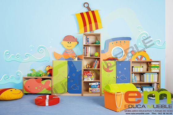 #Mobiliario #infantil. Set de #Muebles con decoración Barco Pirata. Incluye un mueble medio con #estantes, dos muebles medios con 2 puertas en color, una #estantería alta para libros y un mueble bajo con un #contenedor con #ruedas en Tienda Educamueble