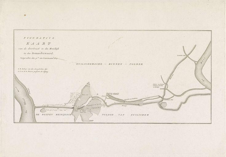 Kaart van dijkdoorbraak in de Bommelerwaard, 1809, anoniem, 1809
