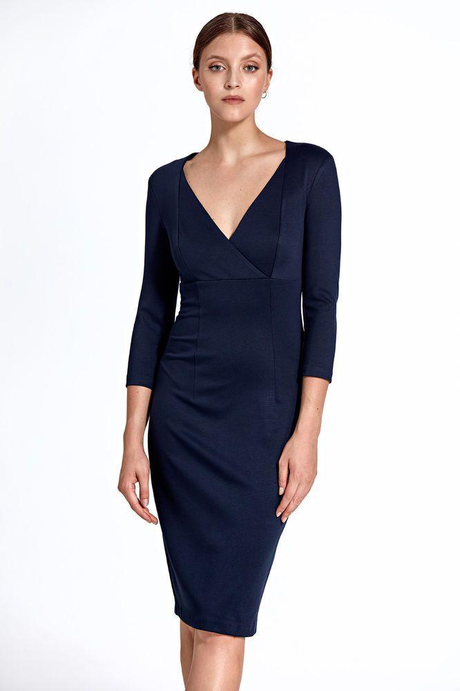 Détails sur Robe bleu femme ajustée élégante crayon décolleté V Colett CS26  36 38 40 42 44 en 2018   fashion mode   Robe et Fashion e47996ef6181