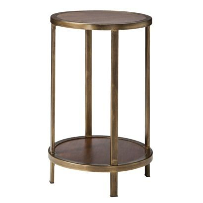Threshold™ Wood And Brass Round Accent Table With Shelf