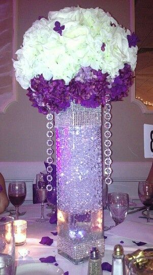 purple and silver bling center pieces | Purple centerpiece create by me.(Endless Dreams Events)