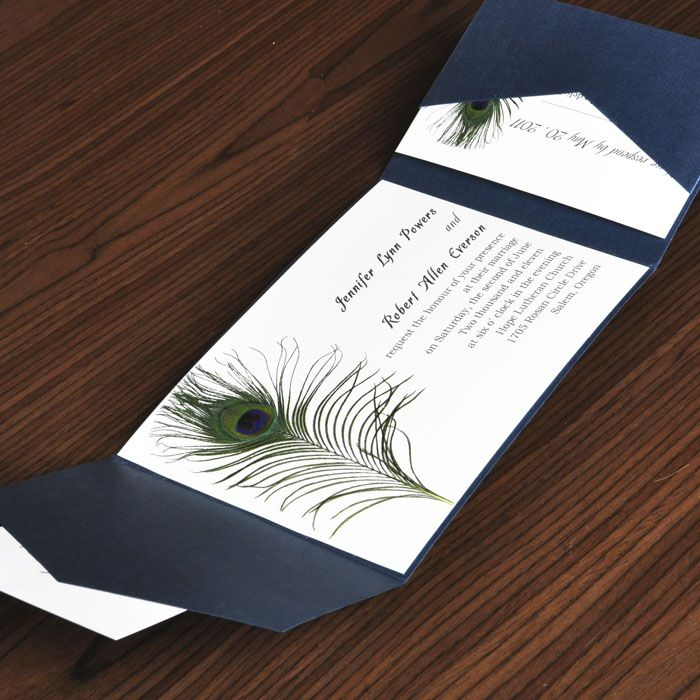 wildflower wedding invitation templates%0A unique peacock white and blue pocket wedding invites with response card  EWPI
