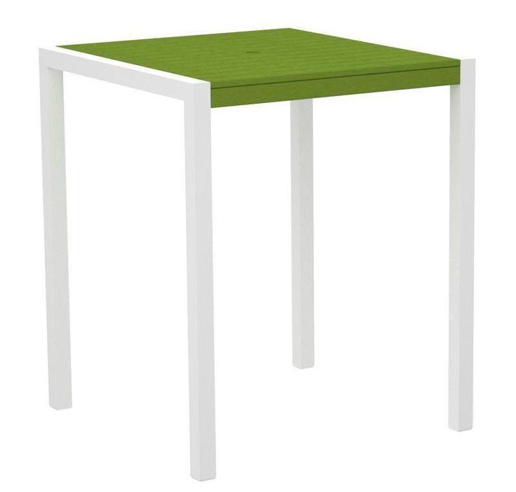 "Polywood 8102-13LI MOD 36"" Bar Table in Textured White Aluminum Frame / Lime"