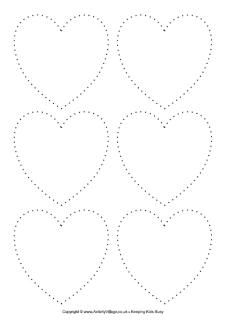 Tracing hearts worksheet. Can also be used for a pushpin activity