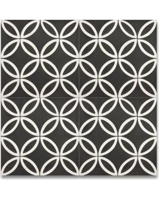 On Sale! Mosaic Amlo Black and White Handmade Moroccan 8 x 8 inch Cement and Granite Floor or Wall Tile (Case of 12) (Amlo Black and White)