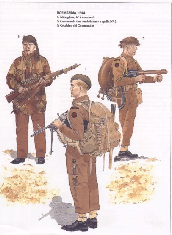 British Commandos - Normandy, 1944 - 1. Machine gunner, 6 Commando - 2. Commando with flamethrower - 3.  Commando sniper