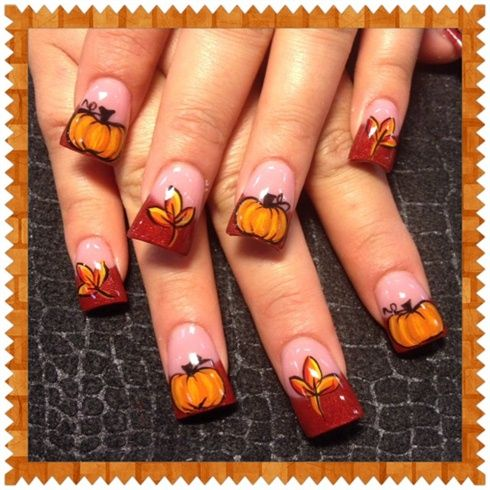 fall leaves and pumpkins 2 by oli123 from nail art gallery. Black Bedroom Furniture Sets. Home Design Ideas