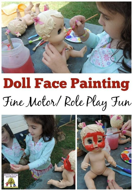 Invite role play, fine motor skills and creativity into outdoor play with this easy dolly face painting activity. Play based learning for 2-5 year olds!