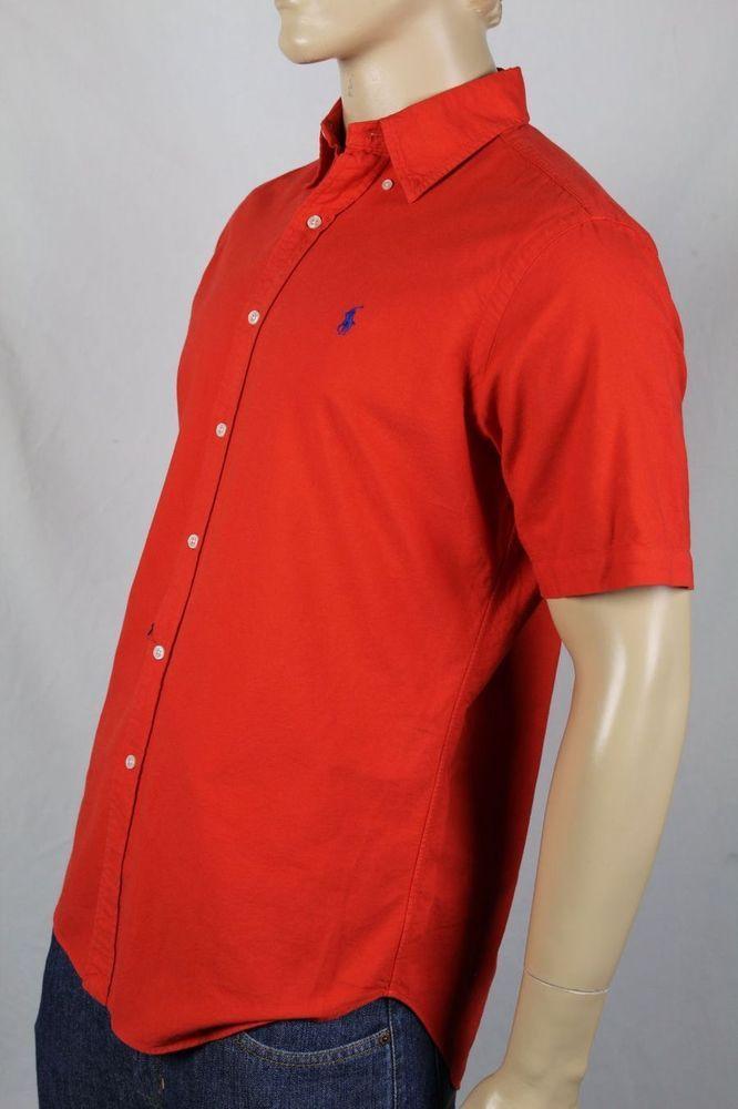 Ralph Lauren Red Classic Short Sleeve Dress Shirt Navy Blue Pony NWT #RalphLauren