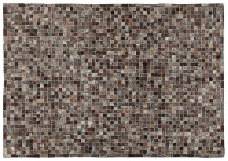 LEATHER PATCHWORK MOSAIC DARK GREY RUG - Brand News 2017 in 100% pure selected cowhide