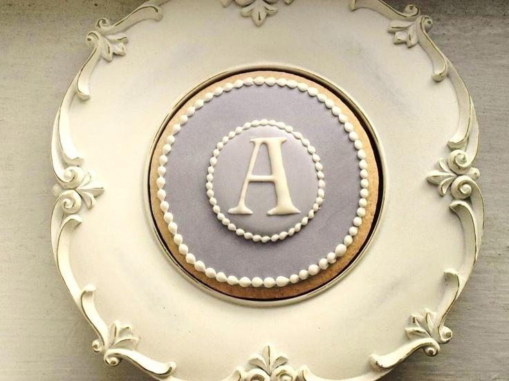 Monogram Cookies in Lavender via Etsy, SweetAmbs.
