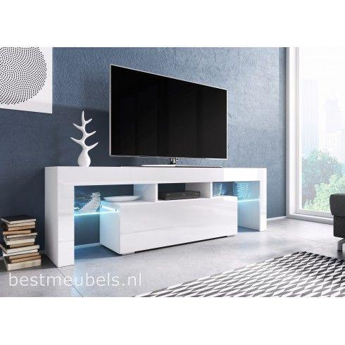 Tv Kast Zwart Wit.1363 Tygo Tv Meubel Hoogglans Wit Zwart Tv Kast Laminate