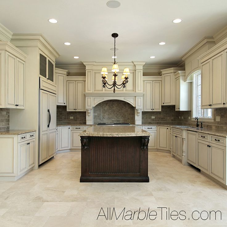 73 best antique white kitchens images on pinterest for White kitchen cabinets with tile floor