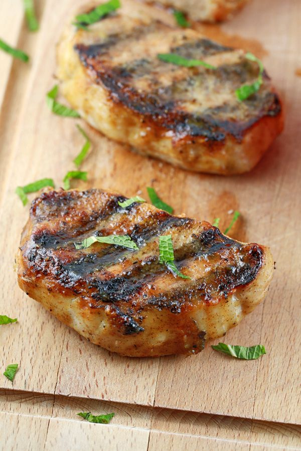Grilled Pork Chops with Honey Mustard Glaze - A quick and easy pork chop recipe packed with savory spices that you're going to love | jessicagavin.com