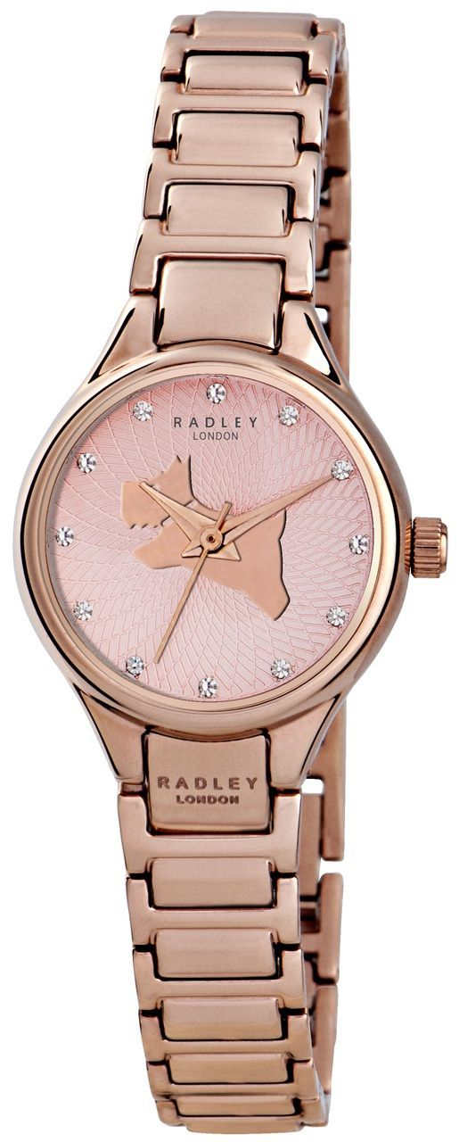 Radley Ladies White Dial RosRadley Ladies Dog Icon Dial Rose Gold Bracelet Watch RY4212e Gold Bracelet Watch With Dog Charm RY4184