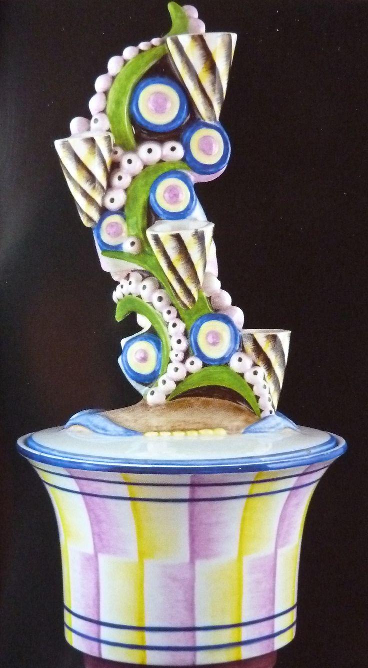 Ceramic box made by Mario Sturani 1930 manufacture Lenci, Turin, Italy.