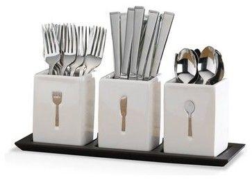 Blakely 36 Piece Flatware Set w/Caddies contemporary flatware - by Mikasa