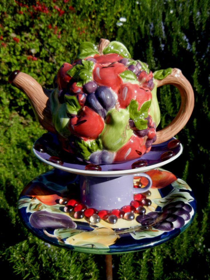 Teapot Birdfeeder, Fruit Theme, Whimsical, Garden Art, Repurposed,          Garden Whimsy, Bird Feeder, Garden Totem – Bountiful Orchard by PreciousNPretty on Etsy https://www.etsy.com/listing/222048238/teapot-birdfeeder-fruit-theme-whimsical