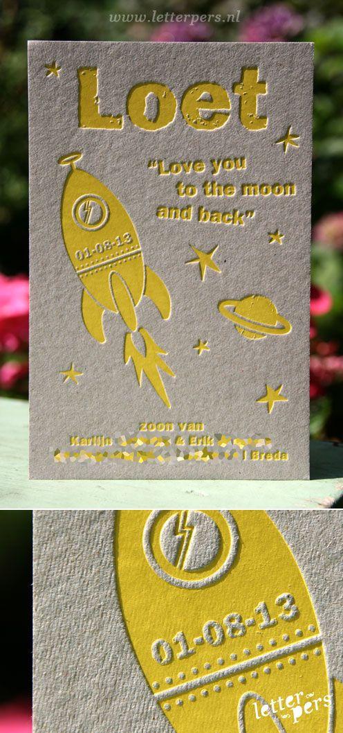 letterpers_letterpress_geboortekaartje_Loet_raket_folie_geel_grijskarton_sterren