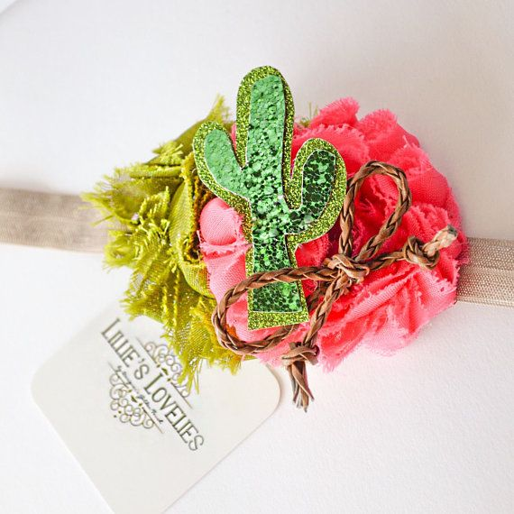 Cactus Party Clip or Headband~ Party IDEA  Fiesta Pink Succulent Headband, Western Hair Bow, Green Desert Headband, Cactus Tee Outfit, Cactus Hairbow, Western Party,