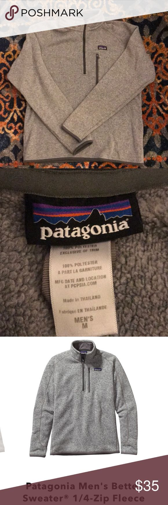 Gray Patagonia men's better sweater quarter zip Super popular original Patagonia better sweater quarter zip. Men's medium. Worn but excellent condition. Light gray. Still for sale for $99 on Patagonia.com. Patagonia Jackets & Coats Performance Jackets