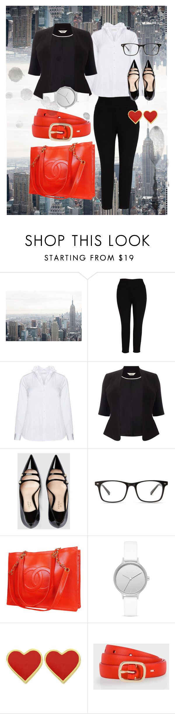"""Office day."" by ro-mondryk on Polyvore featuring Melissa McCarthy Seven7, Eterna, Studio 8, Gucci, Chanel, Skagen, Paul Smith and plus size clothing"