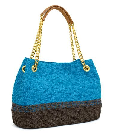 Another great find on #zulily! Turquoise & Toast Stripe Straw Tote Handbag #zulilyfinds