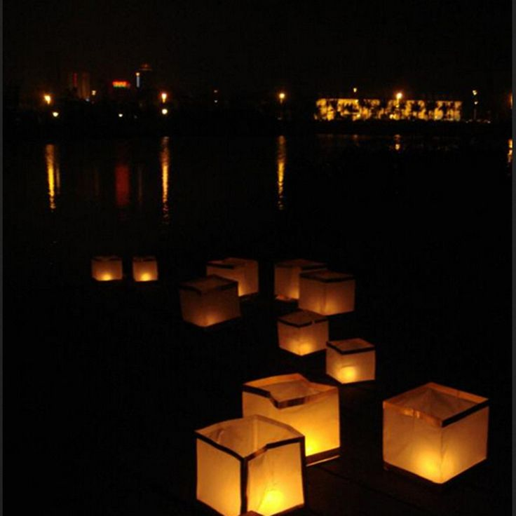 10pcs! Origami paper waterproof lights square floating water wishing lanterns with candle for birtyday wedding party decoration
