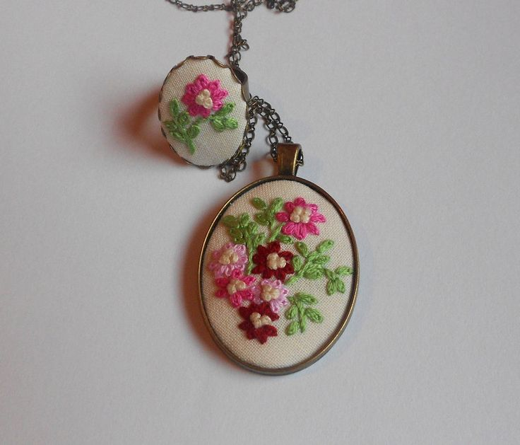 Embroidered Flower Jewelry Pendant Necklace Cocktail Ring Unique gift for mom