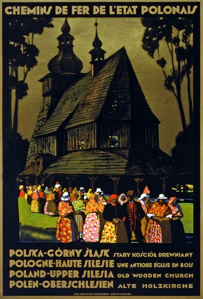 Vintage Upper Silesia Poland Polish Travel Poster
