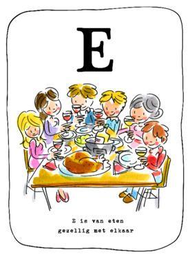 Alfabetkaart E is van Eten