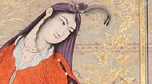 young woman with Indian headdress - Ferdowsi's Shahnameh - Iran 1648