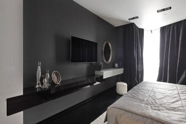 Trennwand schlafzimmer ~ Schwarze wand schlafzimmer einrichtung hintergrund design ideen