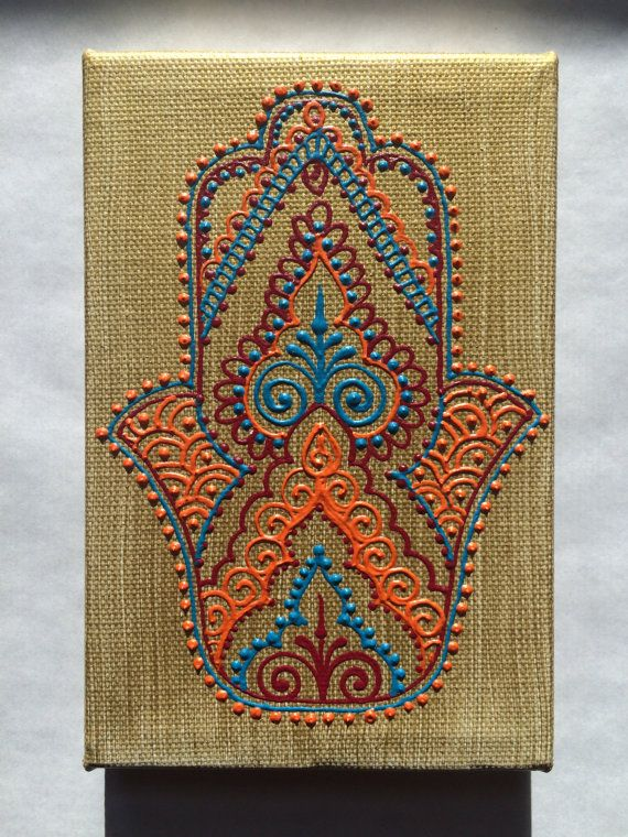 Henna Style Painted Canvas Hamsa by HennaOnHudson on Etsy